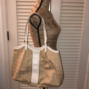 Coach cream and white Large Shoulder Bag